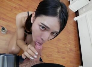Asian sucking white cock